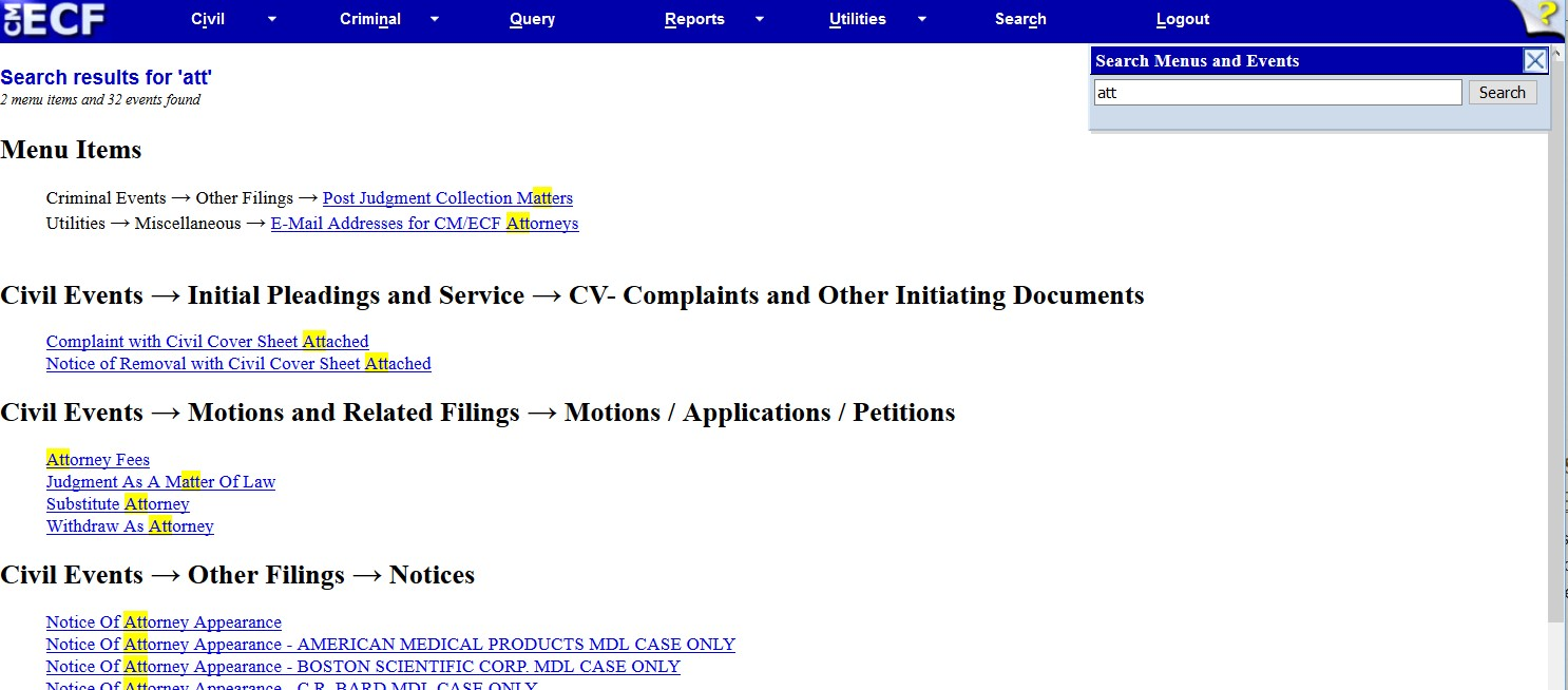 Electronic Filing Event Searches